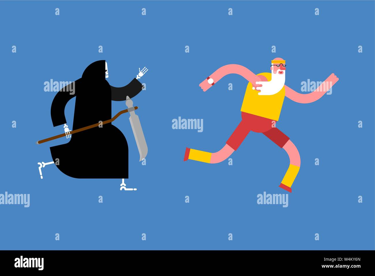 Grandfather runs away from death. grim Reaper is running after grandfather Stock Vector
