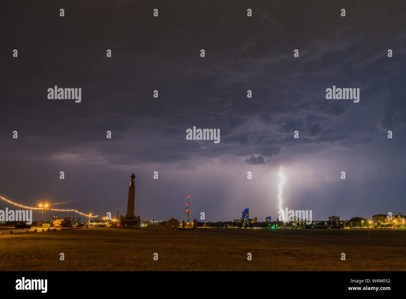 Lightning storms rage over Portsmouth on July 23rd 2019 Stock Photo