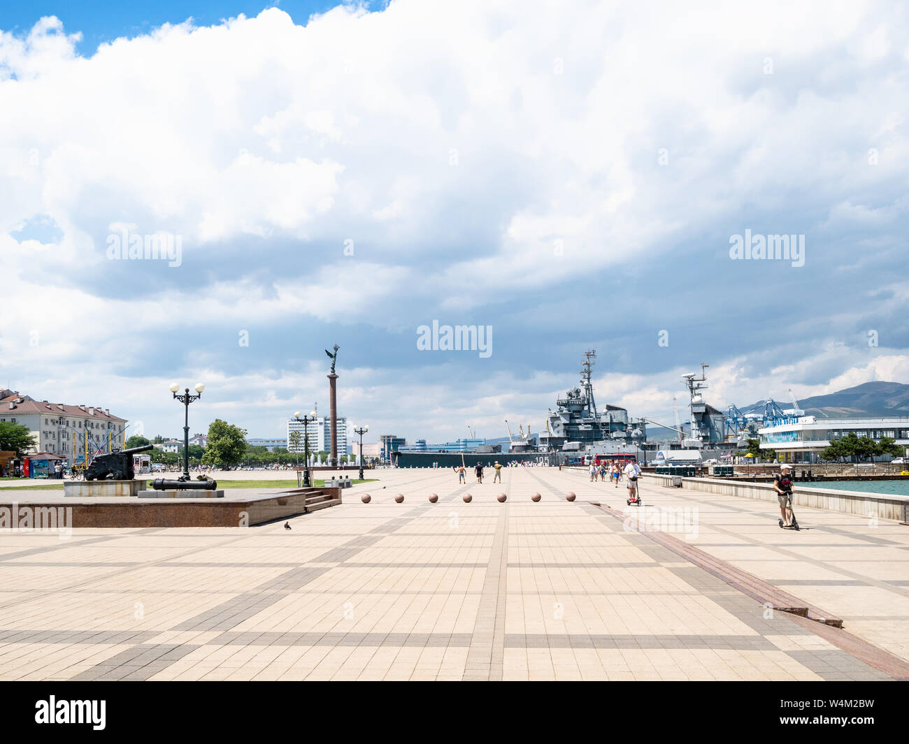 Novorossiysk Russia July 7 2019 People On Forum Square Of Admiral Serebryakov Embankment In Novorossiysk Novorossiysk Is City In Krasnodar Krai Stock Photo Alamy