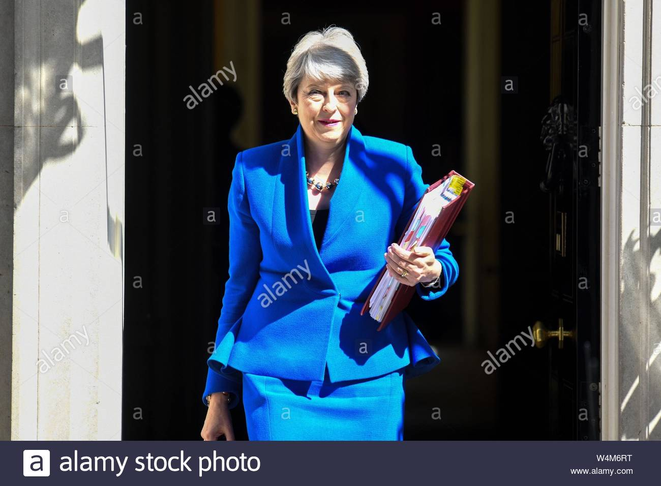 London, UK. 24 July, 2019. PM Theresa May leaves 10 Downing Street for her last PMQs as Prime Minister. Credit: Bart Lenoir/Alamy Live News Stock Photo