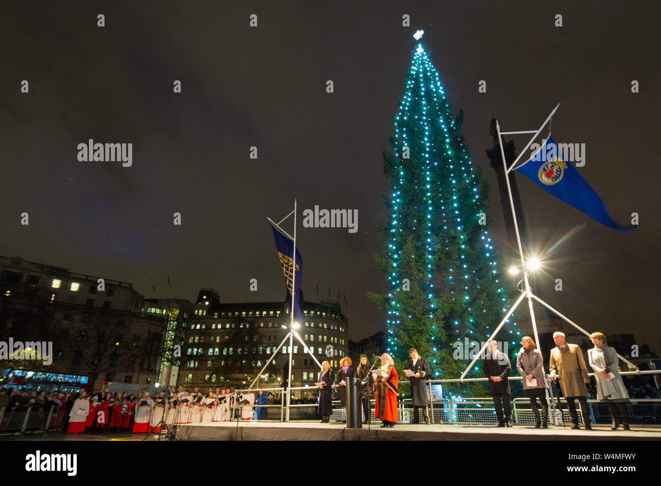 Londons Christmas Tree In Trafalgar Square Is Donated Each Year By Which Country.Trafalgar Square Christmas Tree Stock Photos Trafalgar