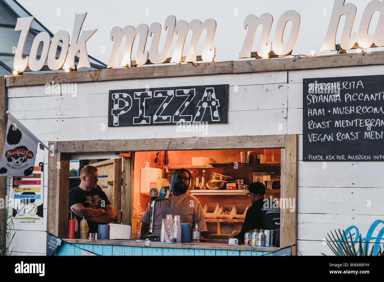 London Uk June 22 2019 Look Mum No Hands Pizza Stand
