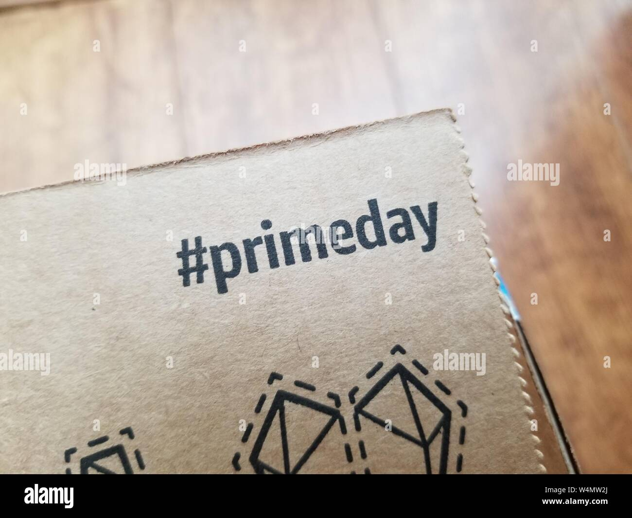 Close Up Of Hashtag Advertisement For Amazon Prime Day Printed On Amazon Delivery Box San Ramon California July 8 2019 Stock Photo Alamy