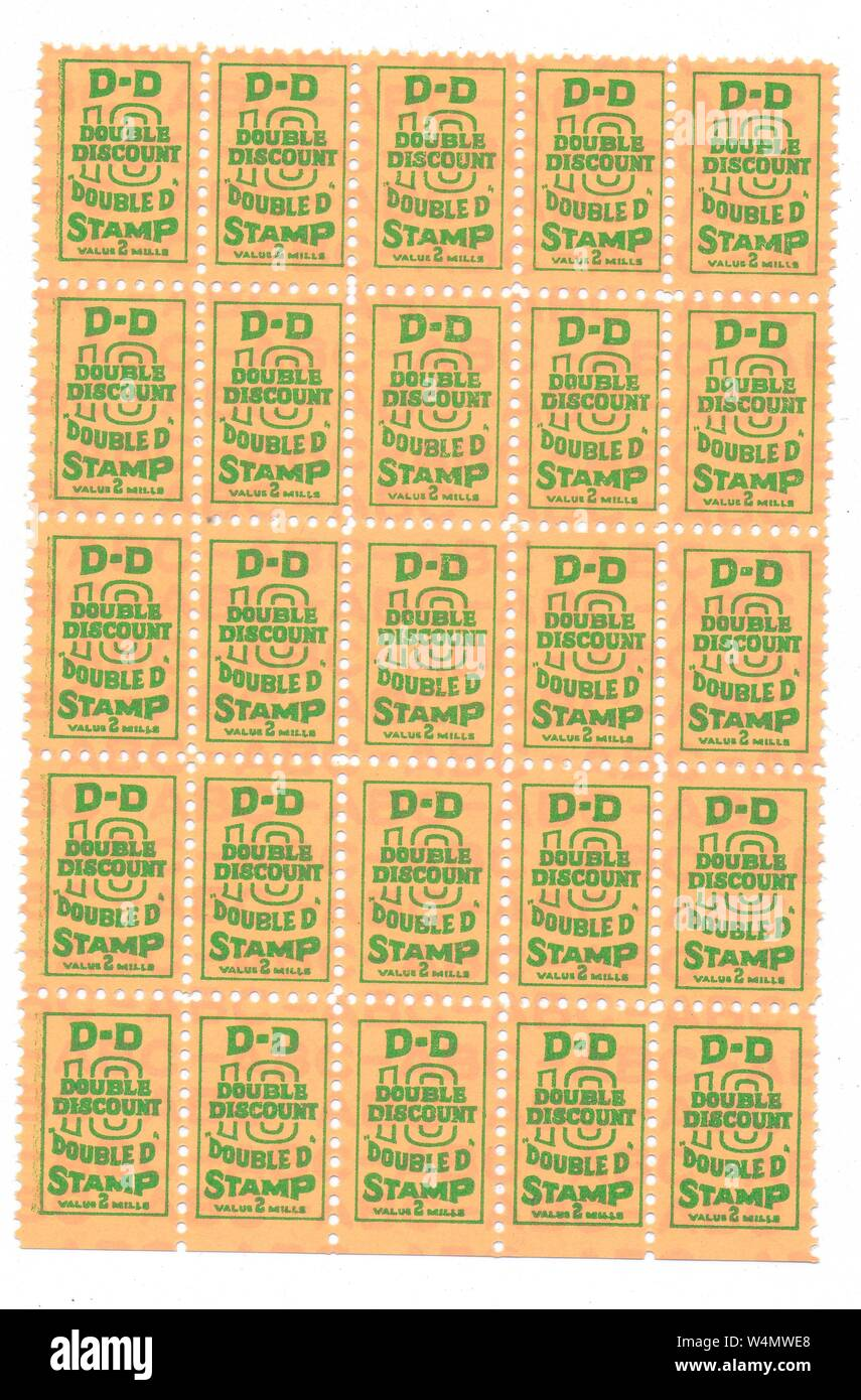 A sheet of twenty-five trading stamps, issued by the Double Discount Stamp Company, Fredericksburg, Virginia, 1955. () Stock Photo