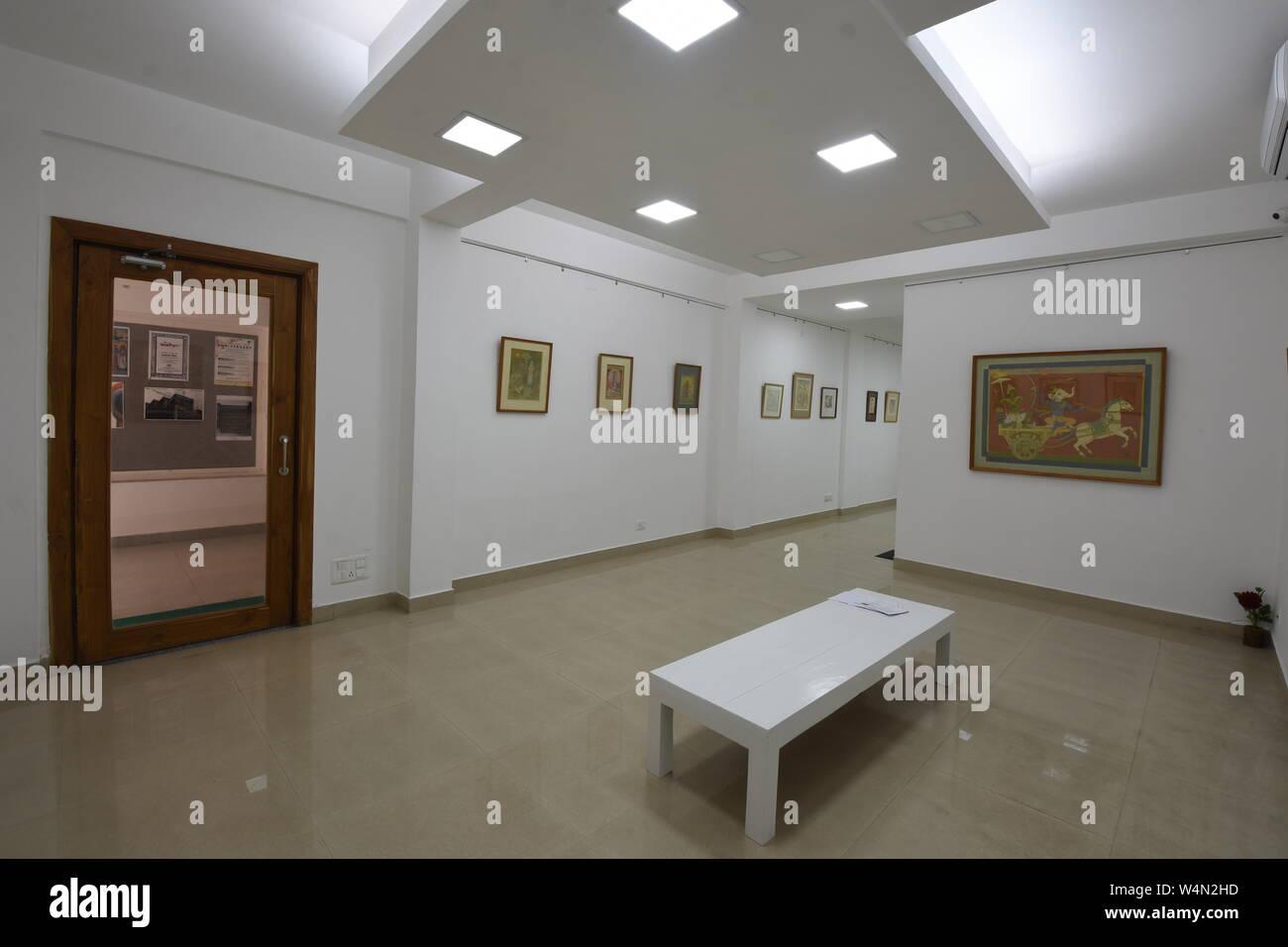 Kolkata, India. 23rd July, 2019. Amit Alo - an exhibition of 24 paintings and drawings by Amit Kumar Sarkar (1938-2019), a Kolkata based Indian Painti Stock Photo