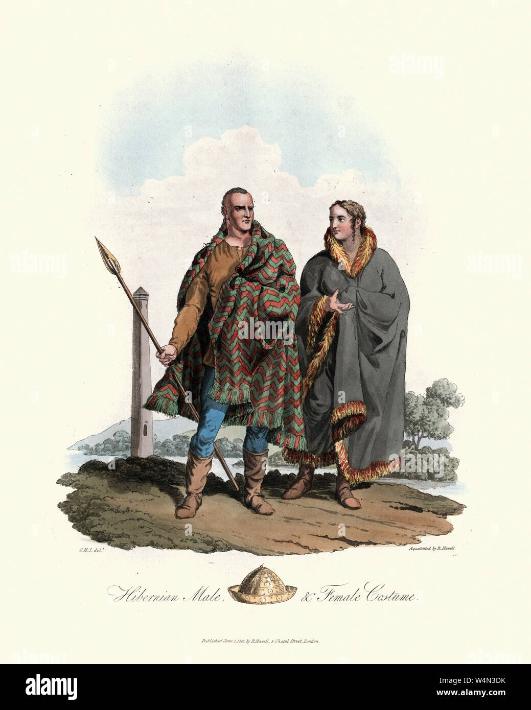 Vintage engraving of Costumes of Ancient British, Hibernian man and woman. 1815, The Costume of the Original Inhabitants of the British Islands, by ME Stock Photo