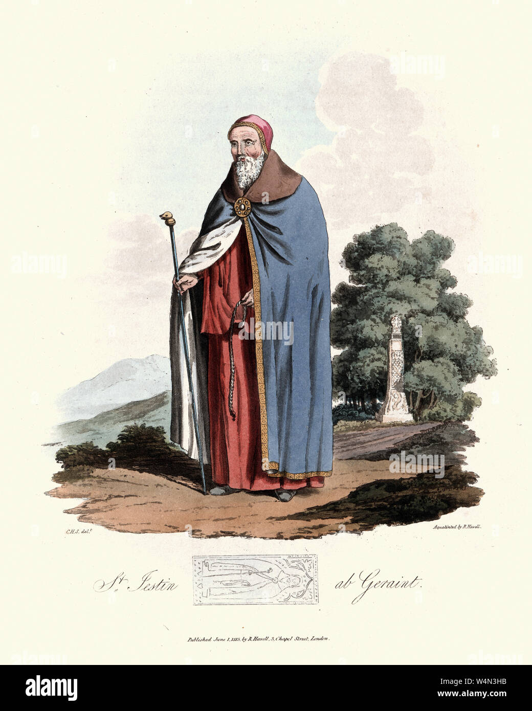 Vintage engraving of St. Iestyn (sometimes recorded as Iestin or the Latin form Justinus) a Welsh hermit and confessor in the 6th or 7th century who i Stock Photo