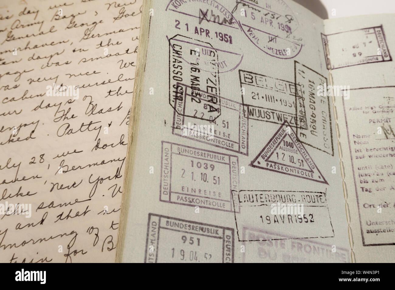 Diary and Passport, 1950s Stock Photo