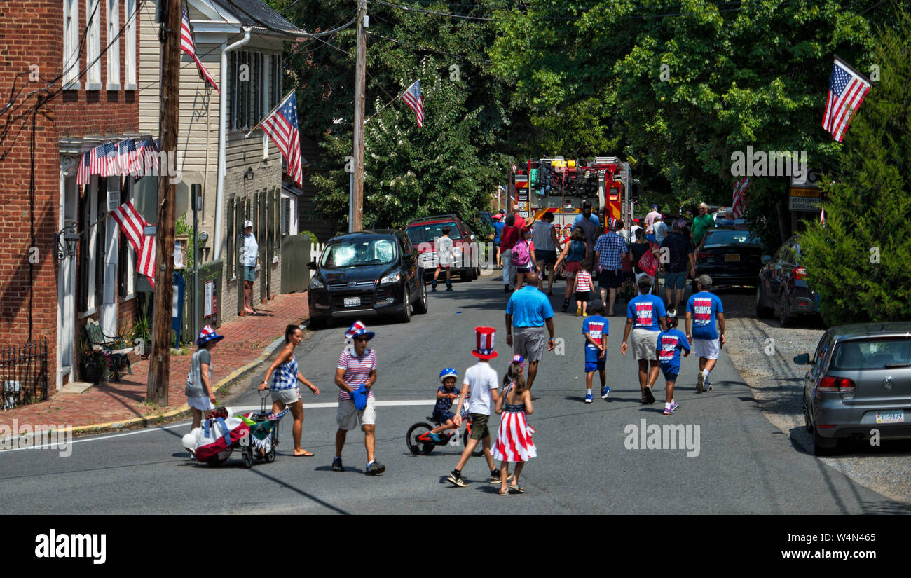 UNITED STATES - July 4, 2019: The village of Waterford's Independence Day Celebration started last night with fire works and this morning they had a o Stock Photo