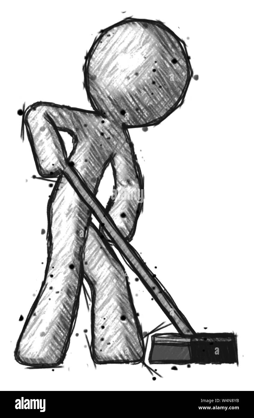 Sketch Design Mascot Man Cleaning Services Janitor Sweeping Floor