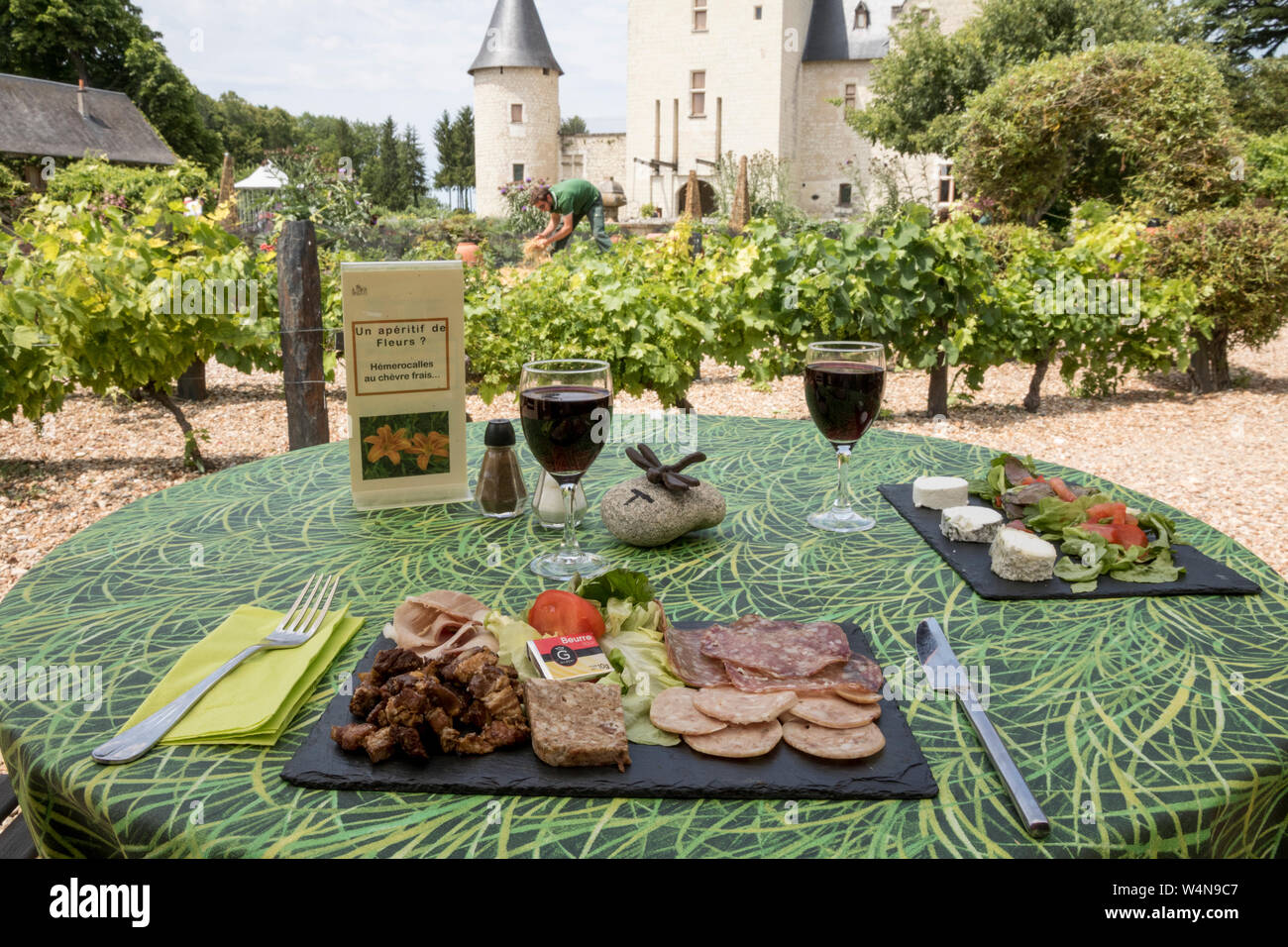 Outdoor restaurant at the Chateau du Rivau Stock Photo