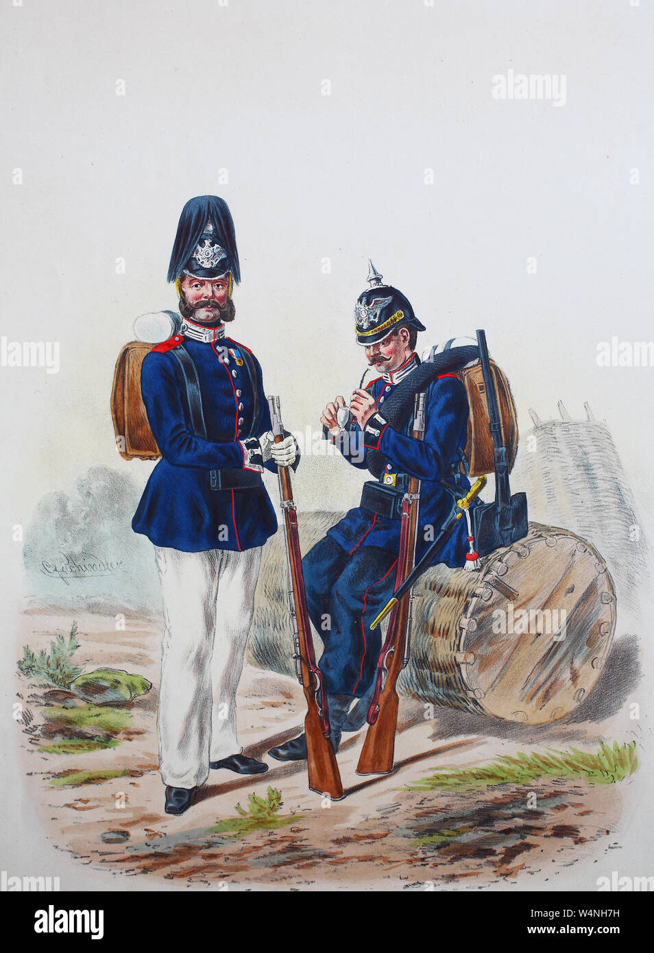 Royal Prussian Army, Guards Corps, Preußens Heer, preussische Garde, Garde Pionier Batallion, Unteroffizier, gemeiner Soldat, Digital improved reproduction of an illustration from the 19th century Stock Photo
