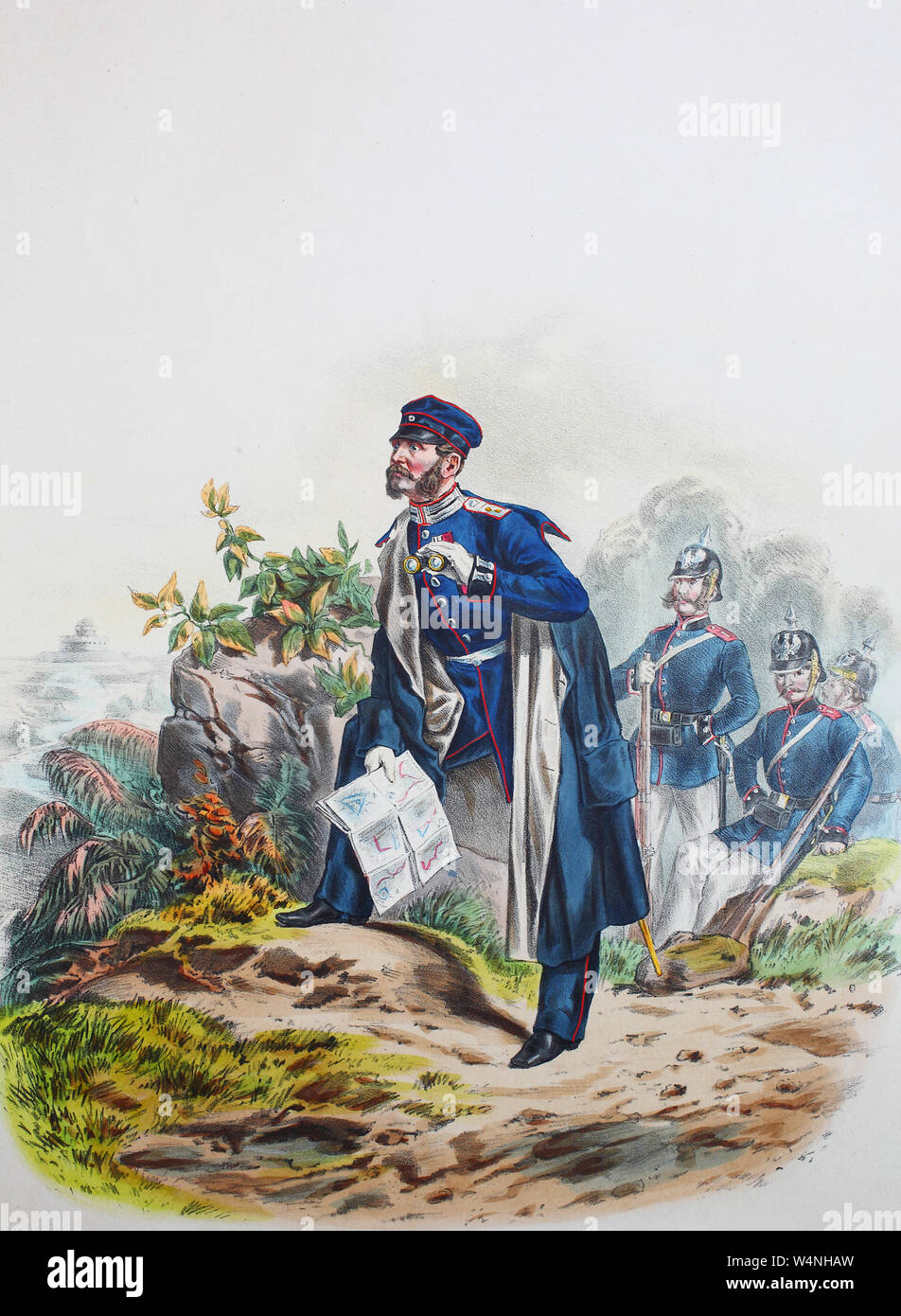 Royal Prussian Army, Guards Corps, Preußens Heer, preussische Garde, Ingenieur Corps, Offizier, Digital improved reproduction of an illustration from the 19th century Stock Photo