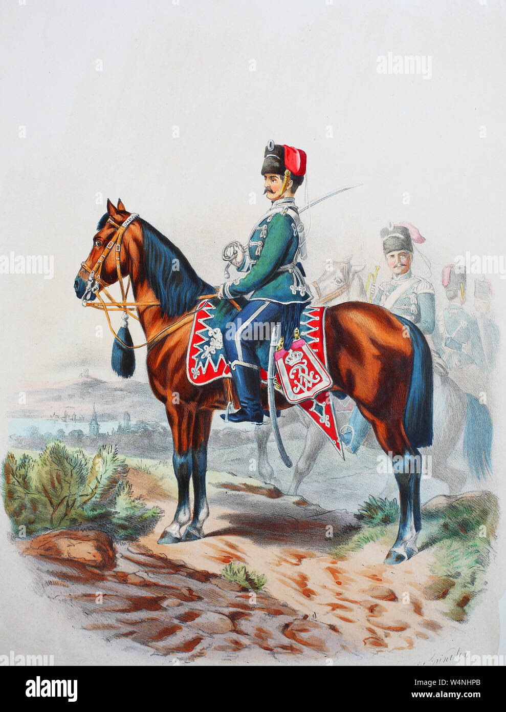 Royal Prussian Army, Guards Corps, Preußens Heer, preussische Garde, Westfälisches Husaren Regiment No.11, Offizier, Trompeter, Digital improved reproduction of an illustration from the 19th century Stock Photo
