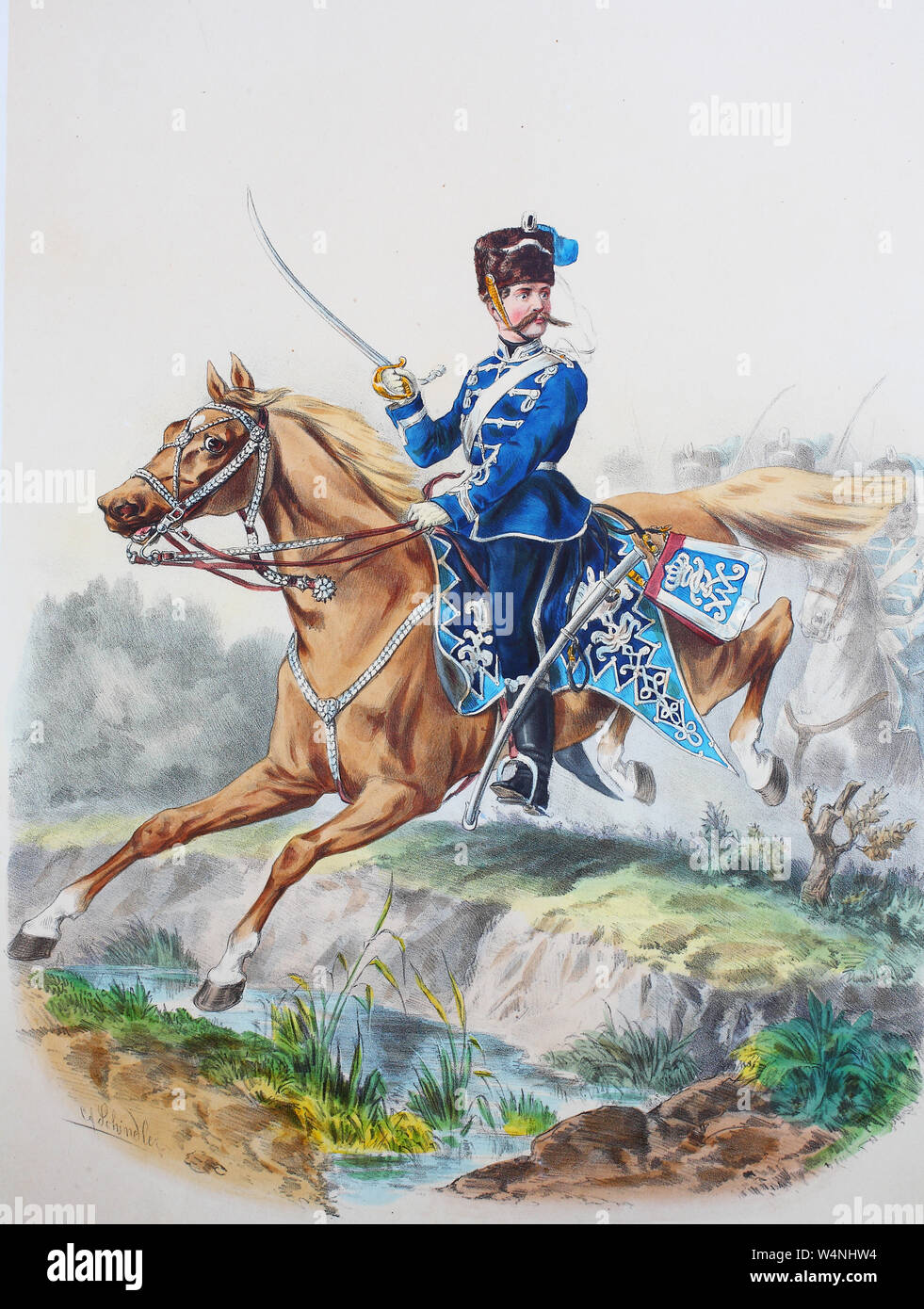 Royal Prussian Army, Guards Corps, Preußens Heer, preussische Garde, Westfälisches Husaren Regiment No.8, Offizier, Digital improved reproduction of an illustration from the 19th century Stock Photo