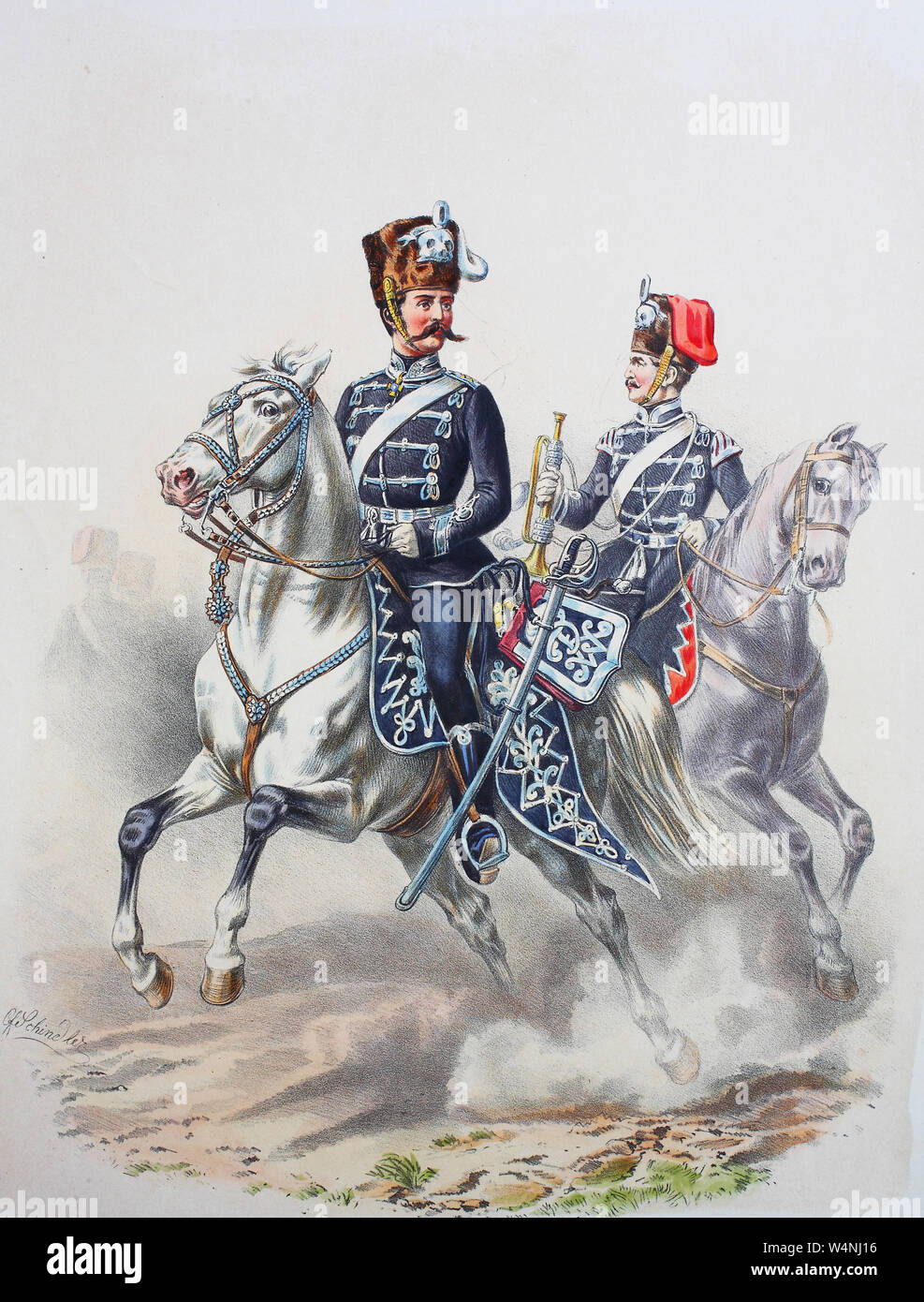 Royal Prussian Army, Guards Corps, Preußens Heer, preussische Garde, Leib Husaren Regiment, Offizier, Trompeter, Digital improved reproduction of an illustration from the 19th century Stock Photo