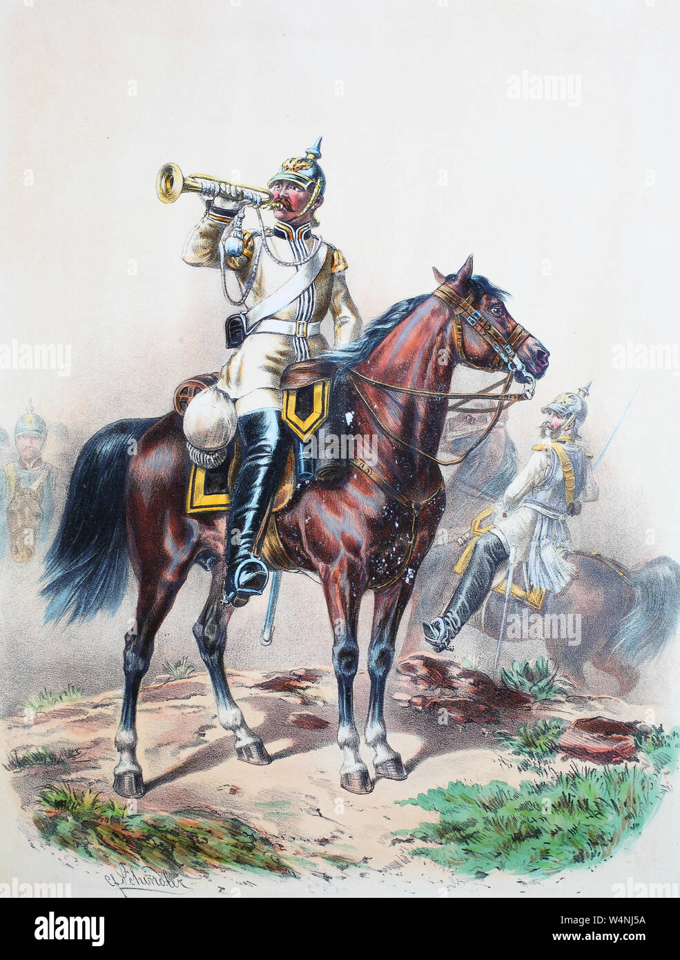 Royal Prussian Army, Guards Corps, Preußens Heer, preussische Garde, Leib Kürassier Regiment, Schlesisches No.1, Trompeter, Offizier, Digital improved reproduction of an illustration from the 19th century Stock Photo