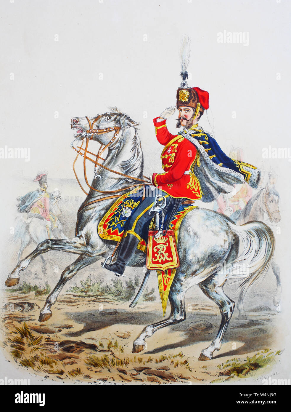 Royal Prussian Army, Guards Corps, Preußens Heer, preussische Garde, Garde Husaren Regiment, Offizier, Digital improved reproduction of an illustration from the 19th century Stock Photo