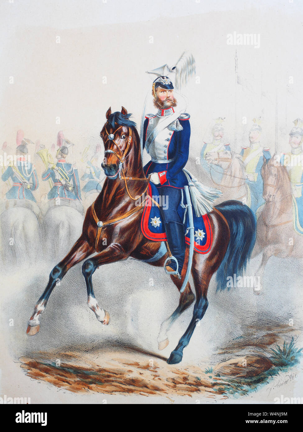 Royal Prussian Army, Guards Corps, Preußens Heer, preussische Garde, Garde Ulanen Regiment, Trompeter, Offizier, gemeine Soldaten, Digital improved reproduction of an illustration from the 19th century Stock Photo