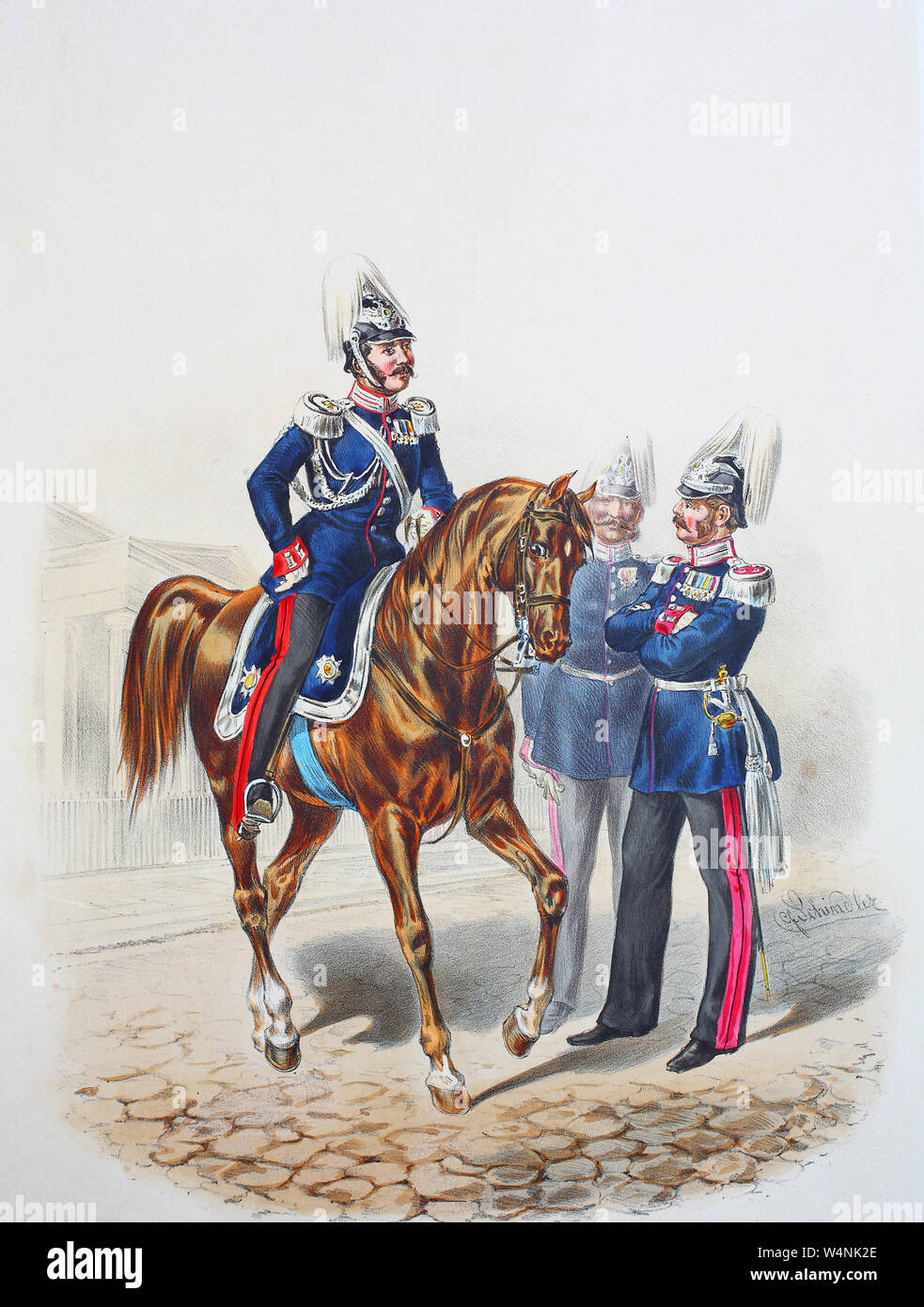 Royal Prussian Army, Guards Corps, Preußens Heer, preussische Garde, Flügel-Adjutant und Generalstabs-Offizier, Digital improved reproduction of an illustration from the 19th century Stock Photo