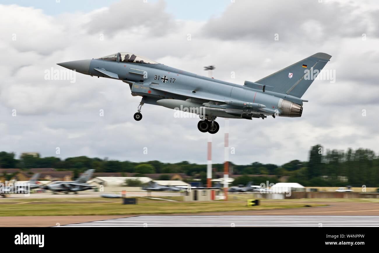 German Air Force (Luftwaffe) Eurofighter Typhoon 31-17 landing at the 2019 Royal International Air Tattoo Stock Photo