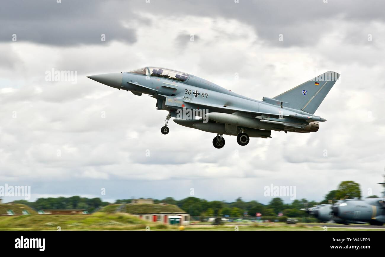 German Air Force Luftwaffe Eurofighter EF-2000 Typhoon fighter jet arriving at the 2019 Royal International Air Tattoo Stock Photo