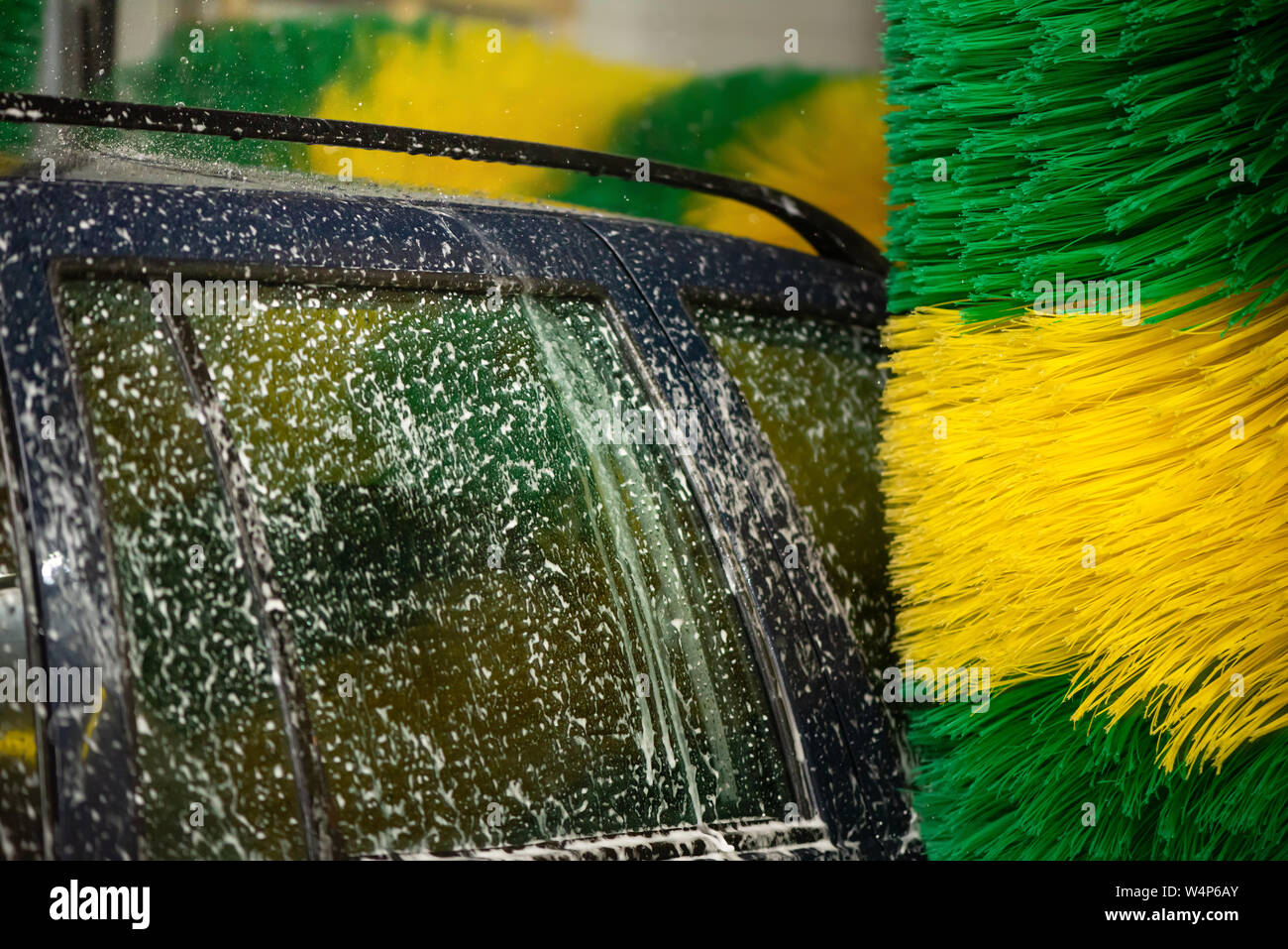 Automatic machine Car Wash with brushes. Car wash service. Caring for a car Stock Photo