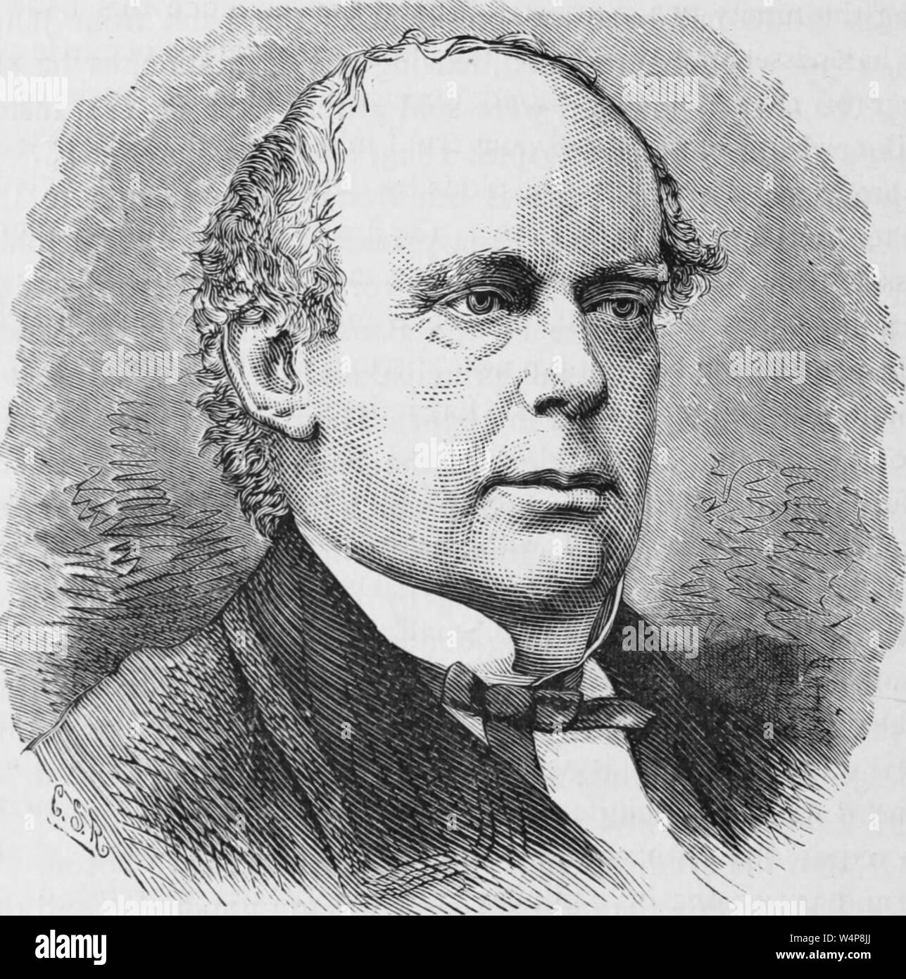 Engraved portrait of Salmon Portland Chase, Chief Justice of the United States, an American politician and jurist from Cornish, New Hampshire, from the book 'Industrial history of the United States' by Albert Sidney Bolles, 1878. Courtesy Internet Archive. () Stock Photo