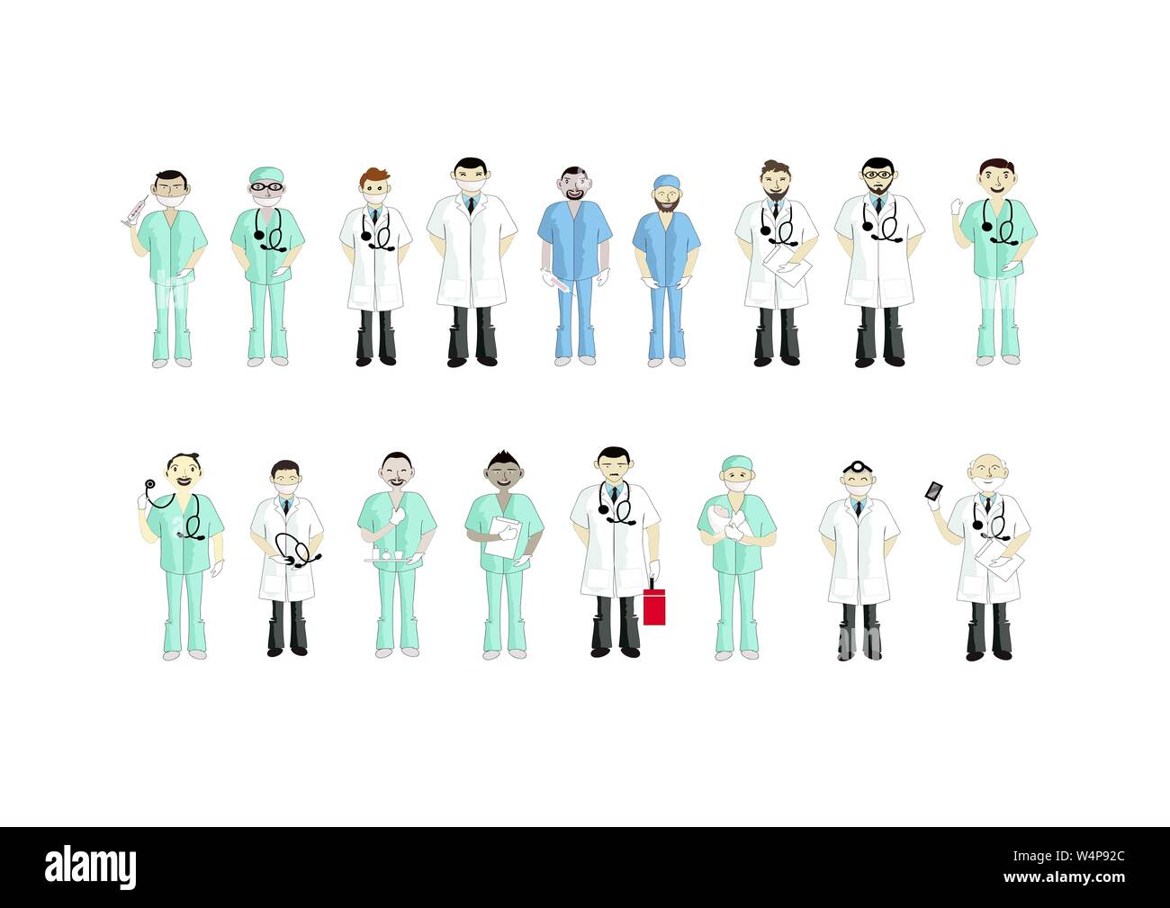 Medical Staff Team Concept, Illustration Set of Different Action Cartoon of Male Doctors and Nurse Isolated on A White Background. Stock Photo