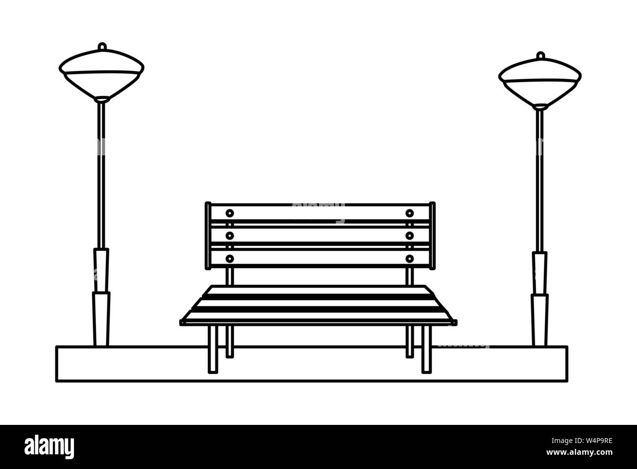 Groovy Wooden Park Bench Isolated Cartoon In Black And White Stock Machost Co Dining Chair Design Ideas Machostcouk