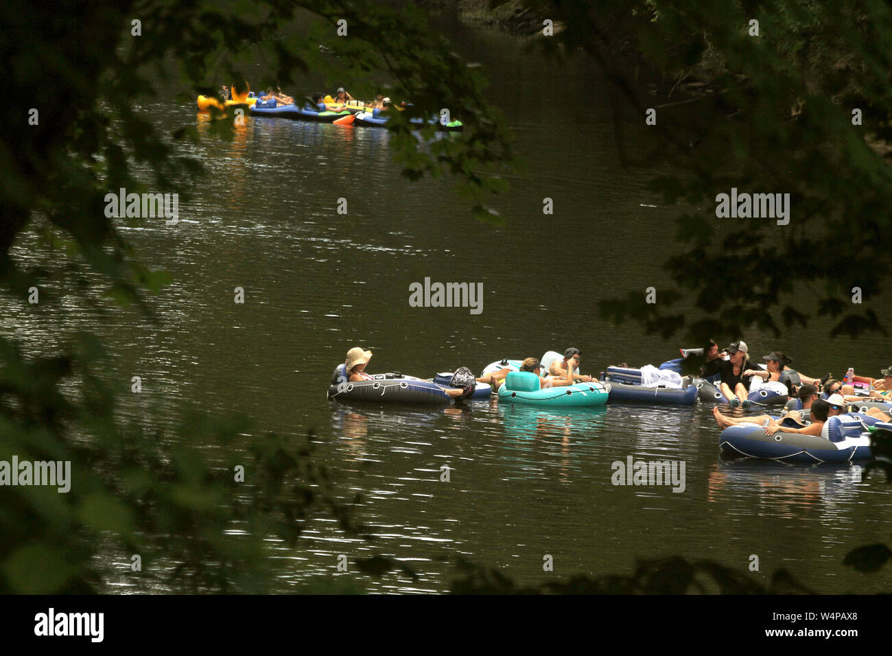 People tubing on Neuse River in North Carolina, USA Stock Photo