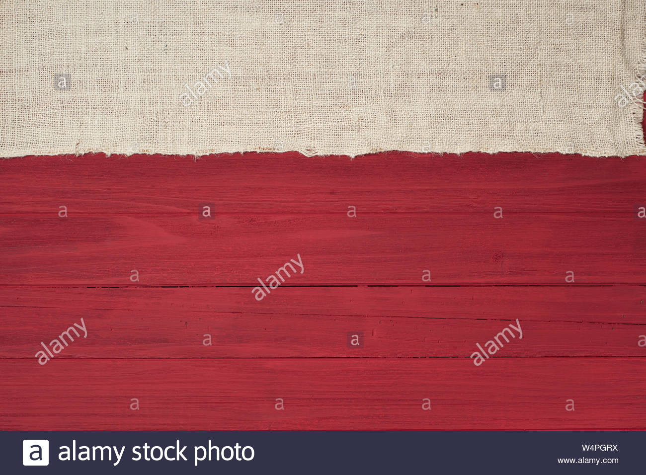 Rustic Red Wood Boards in Flat layout with off white Burlap fabric