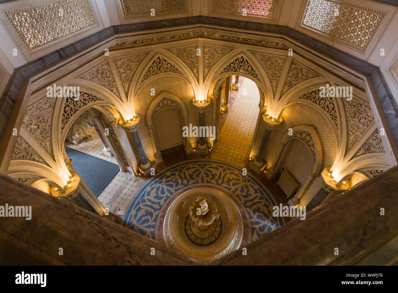 View down into hallway from dome of main tower at the UNESCO World Heritage site of the Palacio de Monserrate (Monserrate Palace), Sintra, Portugal. Stock Photo