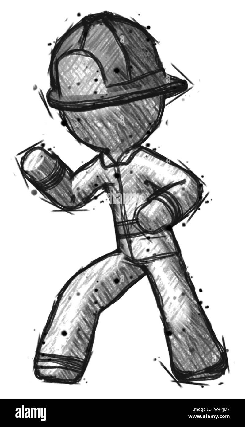 Sketch Firefighter Fireman Man Martial Arts Defense Pose