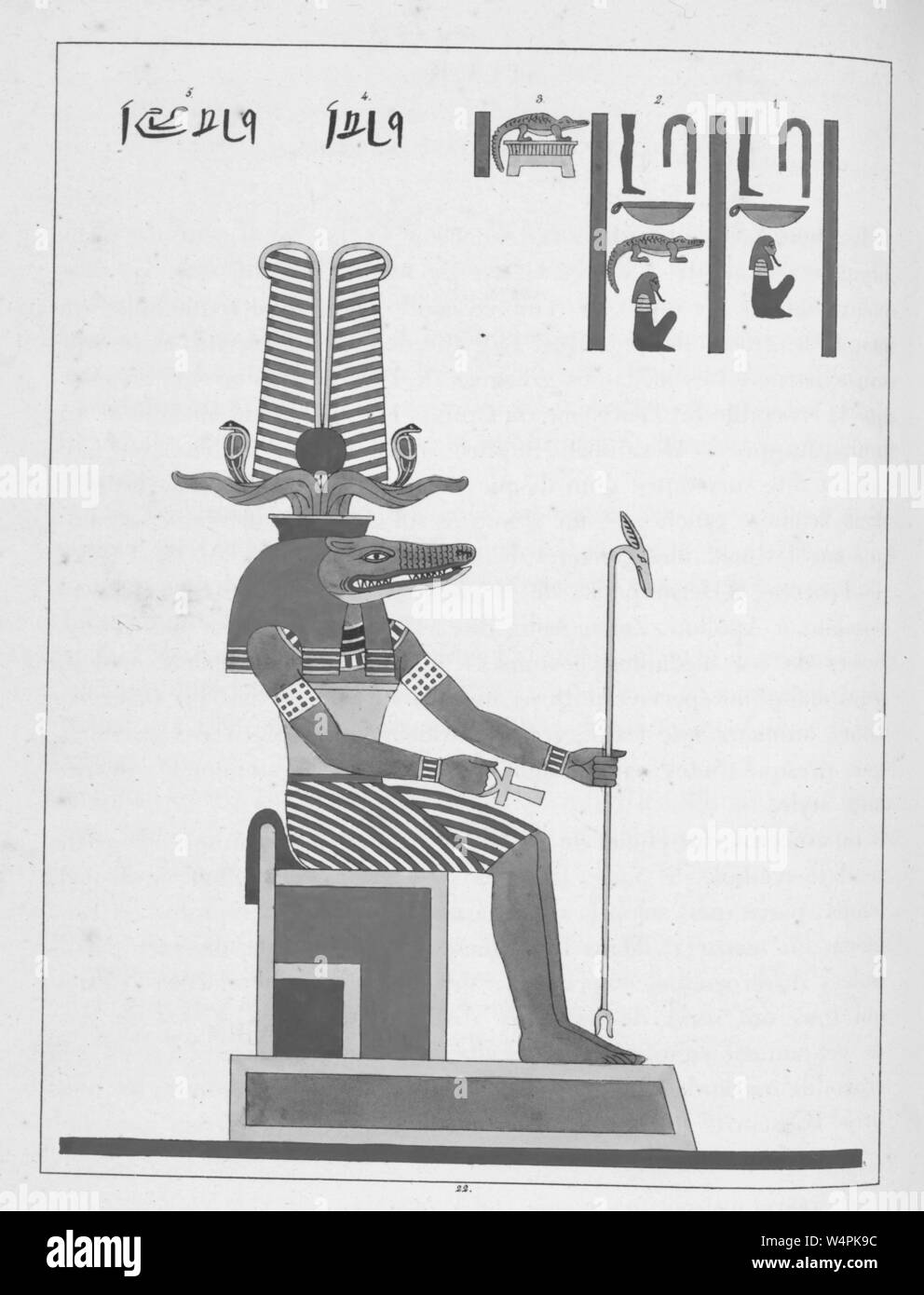 Ancient Egyptian god Sobek, a protective deity against the dangers presented by the Nile, a human with a crocodile head, illustration from the book 'Pantheon Egyptien' by Leon Jean Joseph Dubois, 1824. () Stock Photo