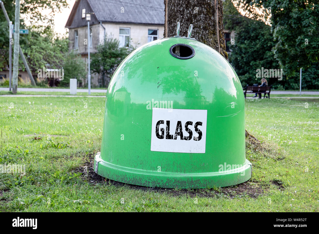 Waste recycling, Trash containers for glass Stock Photo