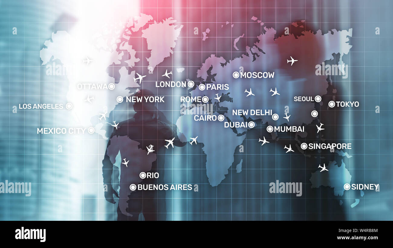 Aviation wallpaper with planes over the map with major city names. Digital map with planes around the world concept. Stock Photo