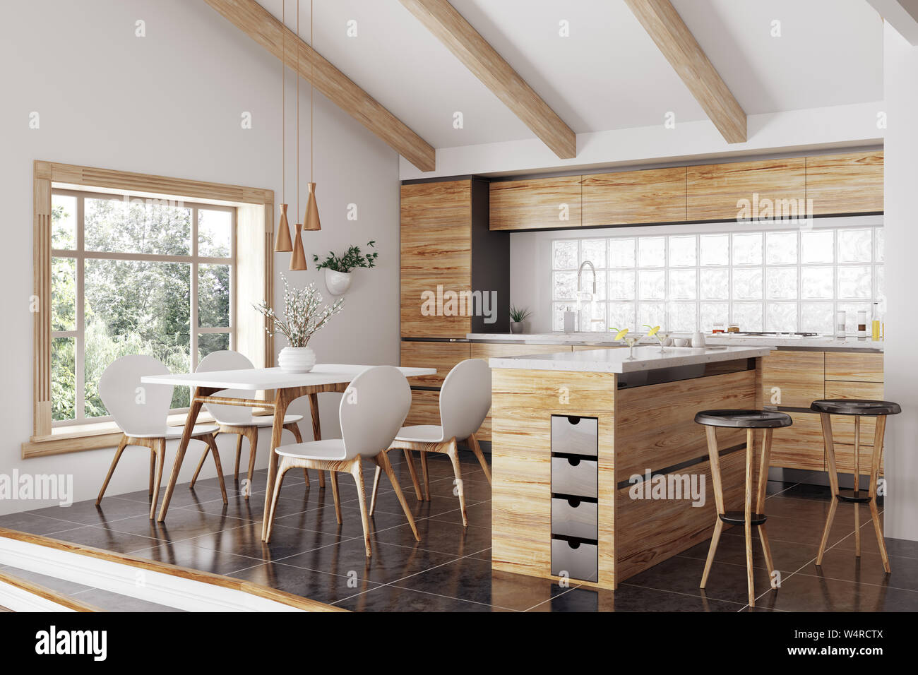Modern interior of wooden kitchen with island, yellow and white