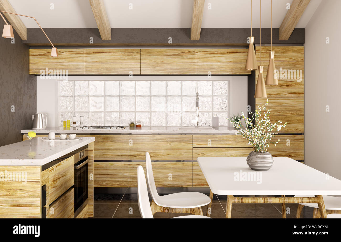 Modern Interior Design Of Wooden Kitchen With Island White Marble Counter Window Table And Chairs 3d Rendering Stock Photo Alamy