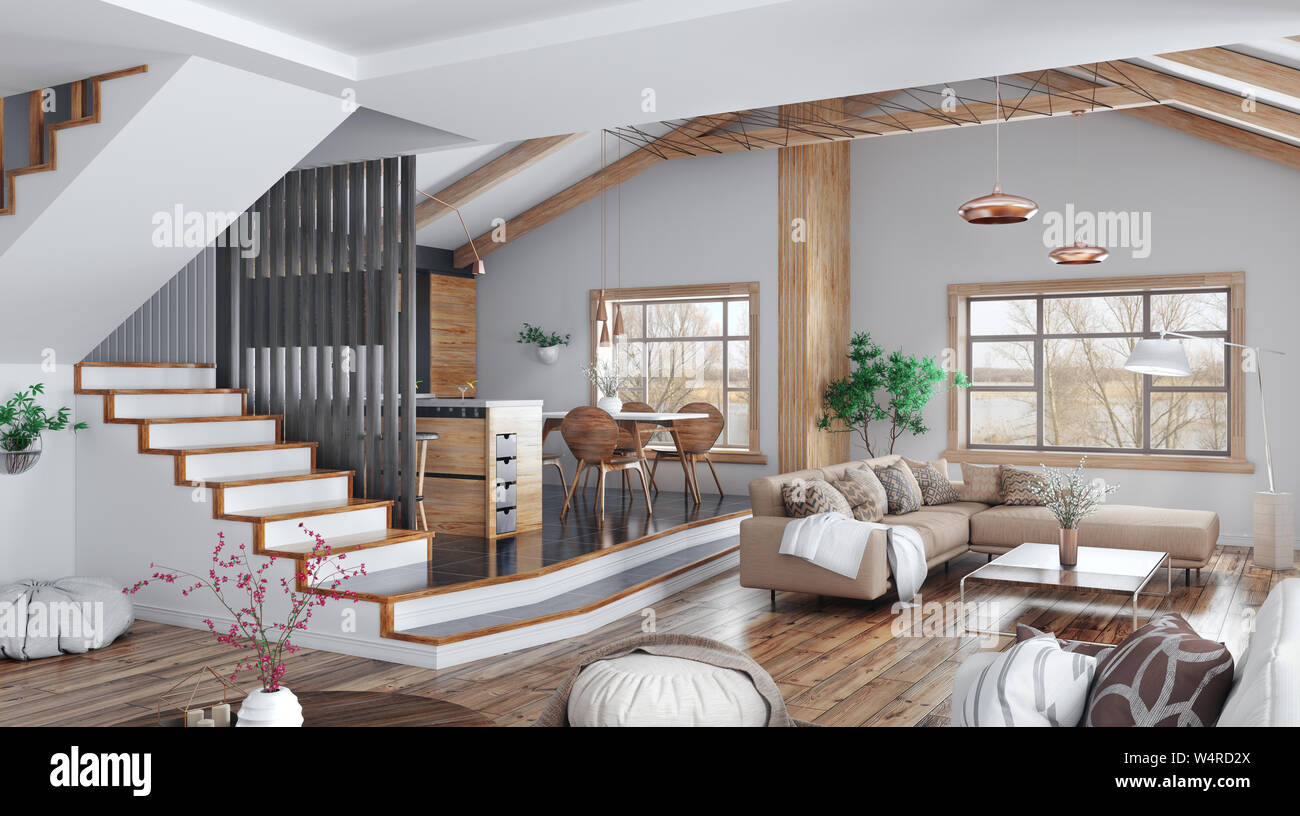 Modern Interior Design Of House Kitchen Living Room With Sofa Hall Staircase 3d Rendering Stock Photo Alamy