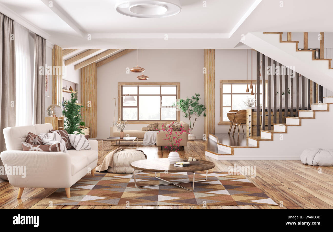 Modern Interior Of House Living Room With Sofa Kitchen Staircase 3d Rendering Stock Photo Alamy
