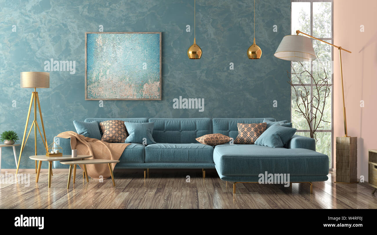 Modern Interior Of Living Room With Blue Corner Sofa Coffee Tables Floor Lamp 3d Rendering Stock Photo Alamy