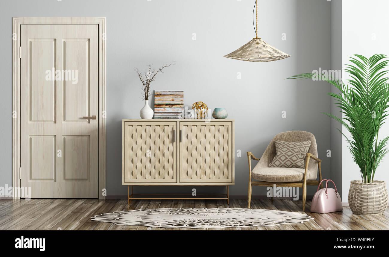 Modern interior of living room with wooden door, beige armchair and dresser 3d rendering Stock Photo