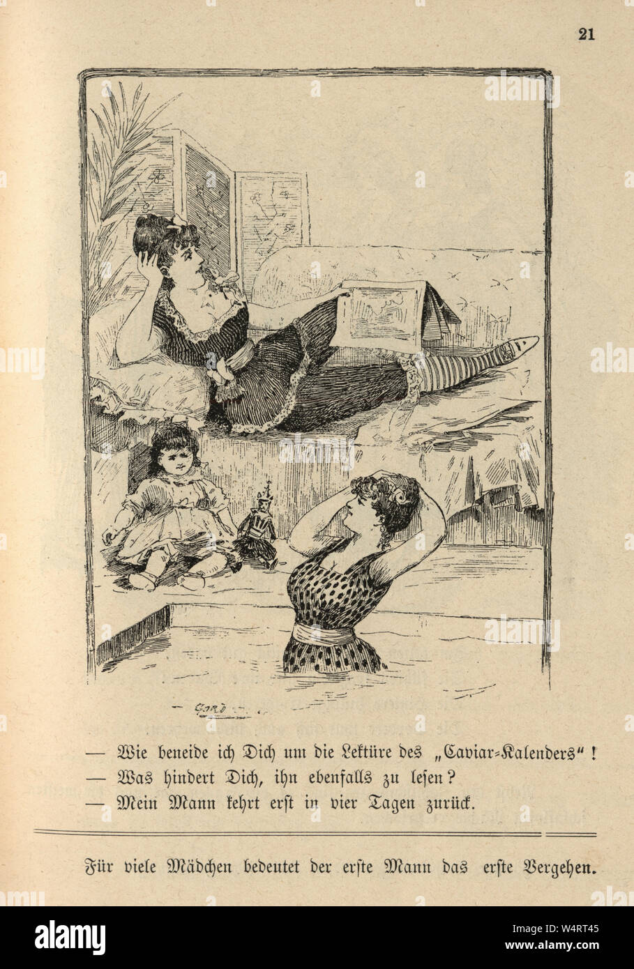 Vintage German cartoon of young woman relaxing in a bath house, 19th Century Stock Photo