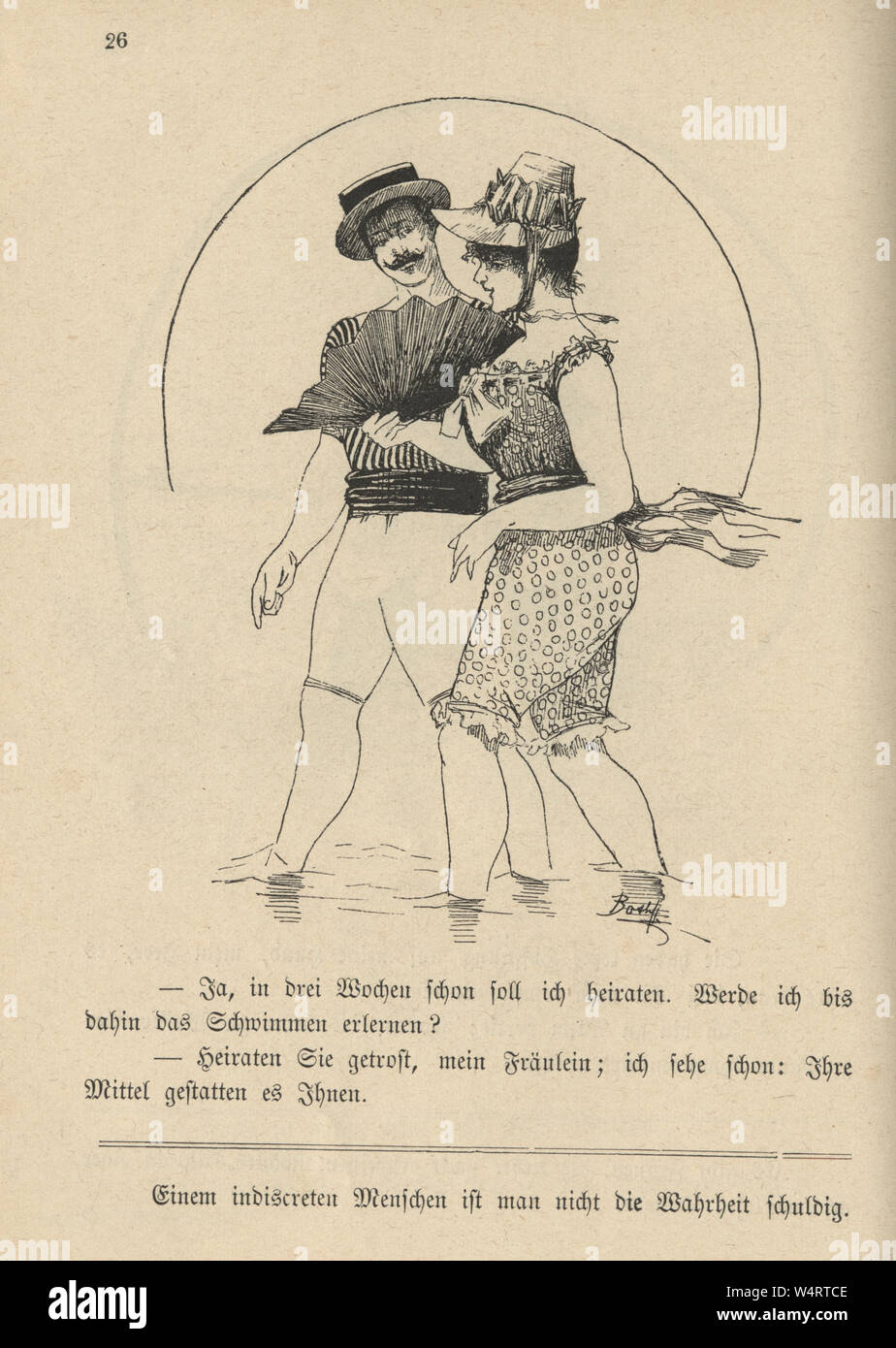 Vintage German cartoon of young couple bathing costumes at the seaside, 19th Century Stock Photo