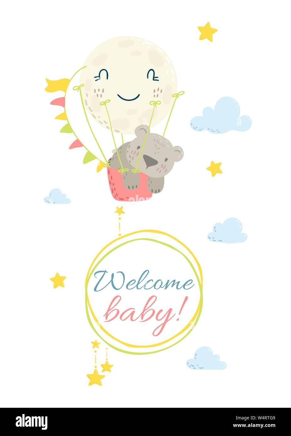Cute Flat Hand Drawn Vector Invitation Baby Shower