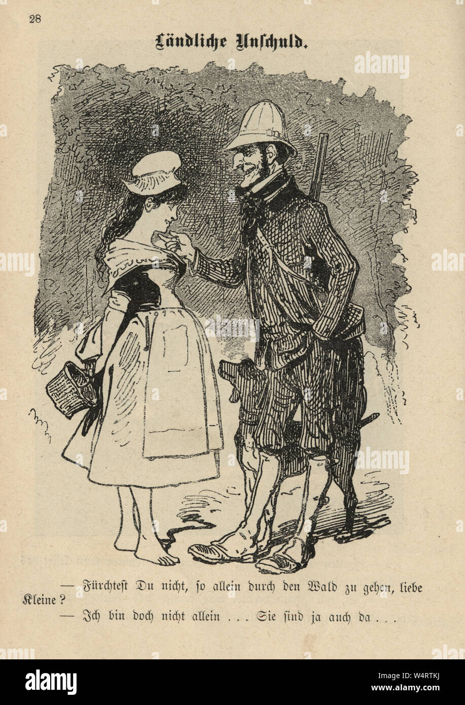Vintage German cartoon of mature man pesterng a young milk maid, 19th Century Stock Photo