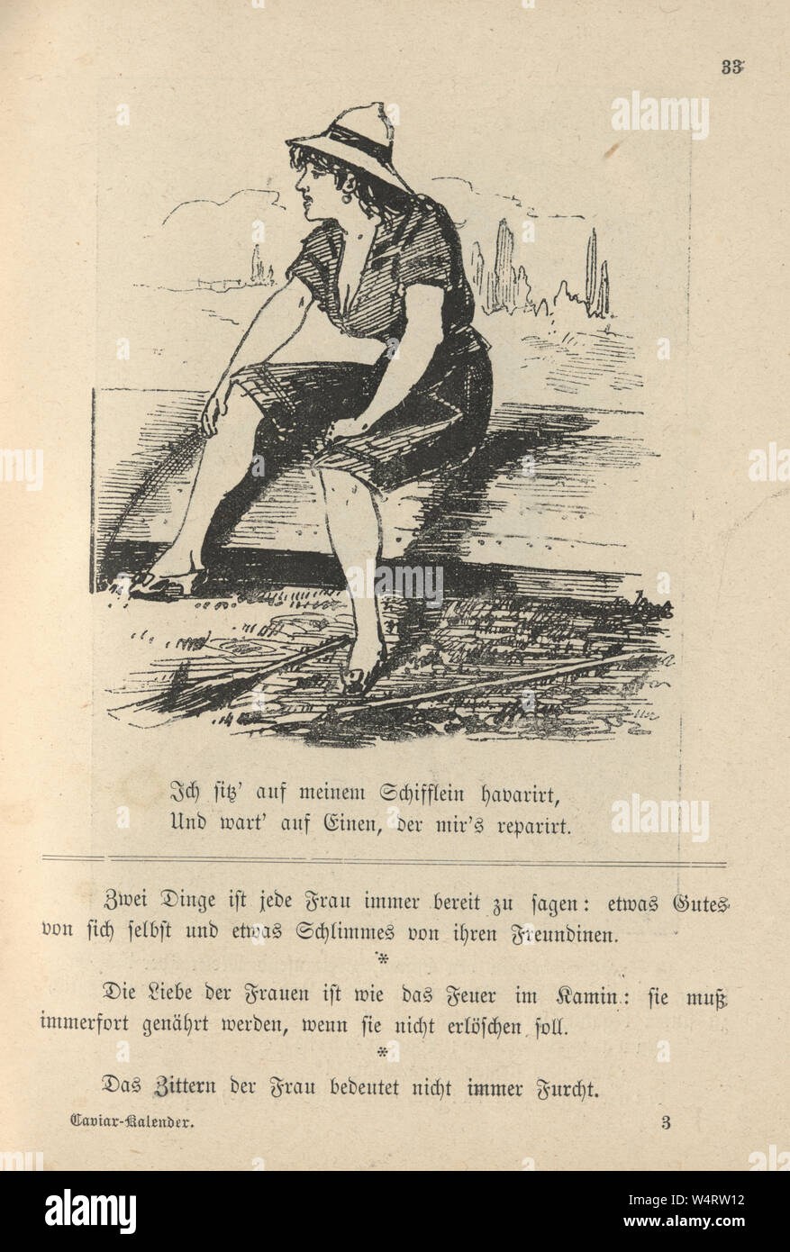 Vintage German cartoon of young woman sat on a upturned boat, 19th Century Stock Photo