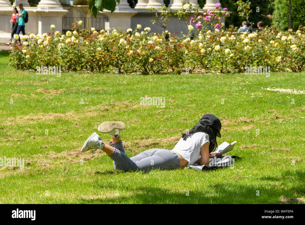 CARDIFF, WALES - JULY 2019: Student lying on grass in a public park in Cardiff reading a book . Stock Photo
