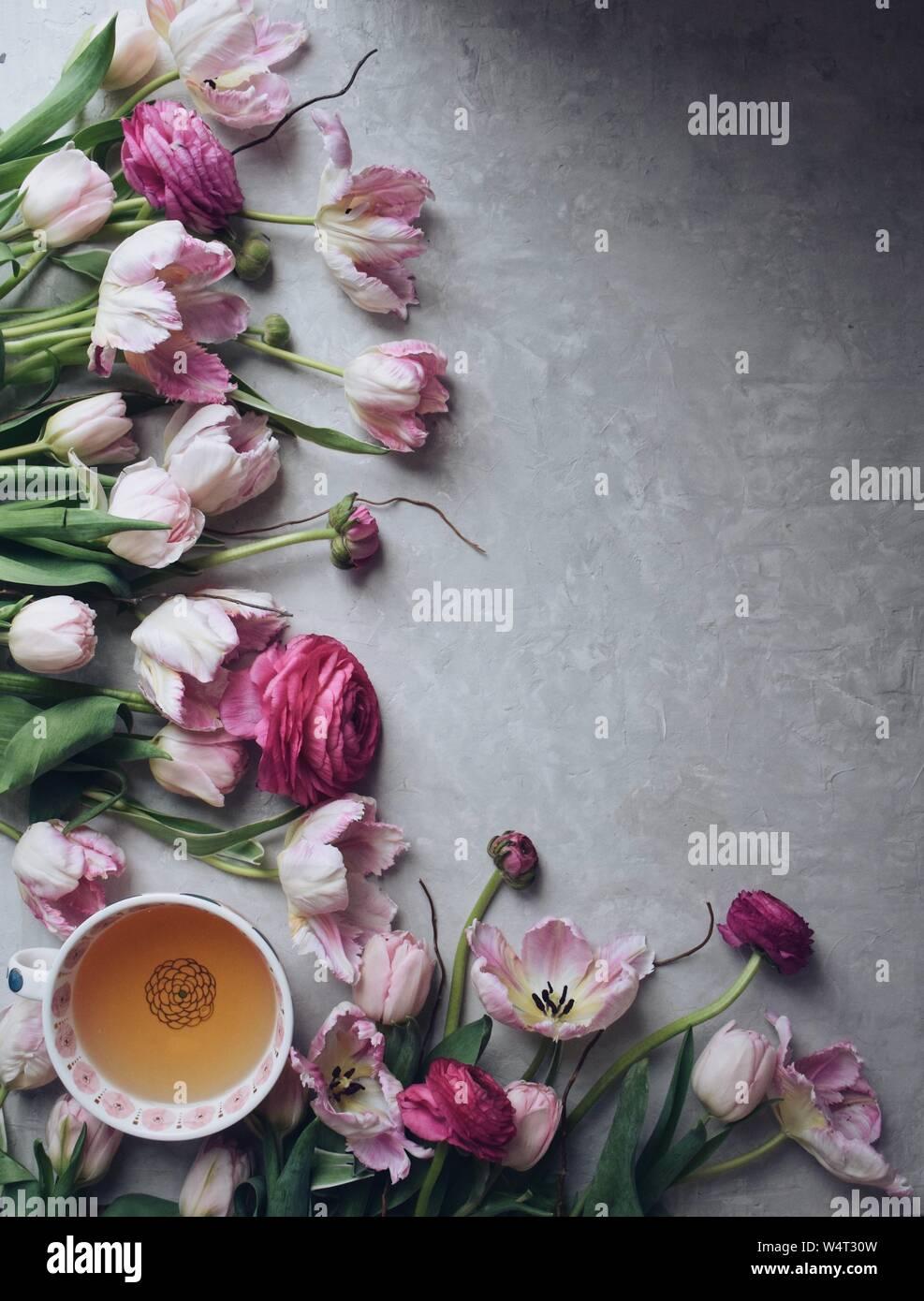 Pink tulips, ranunculus and tea cup Stock Photo